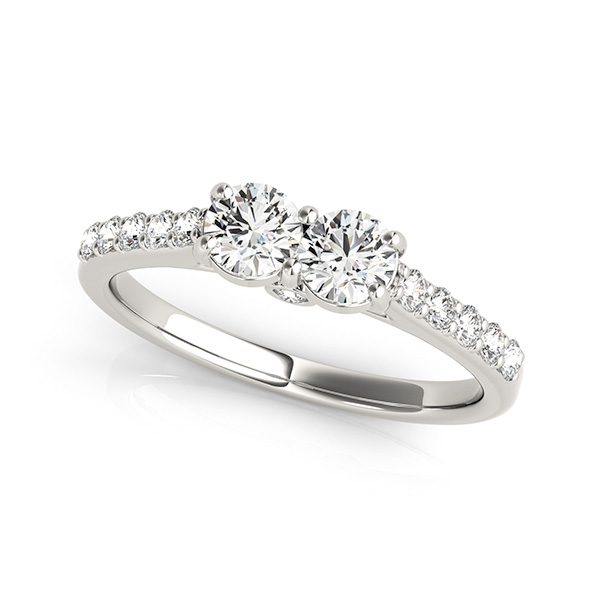 Duo Round Diamond Cathedral Promise Ring 0.78 tcw.