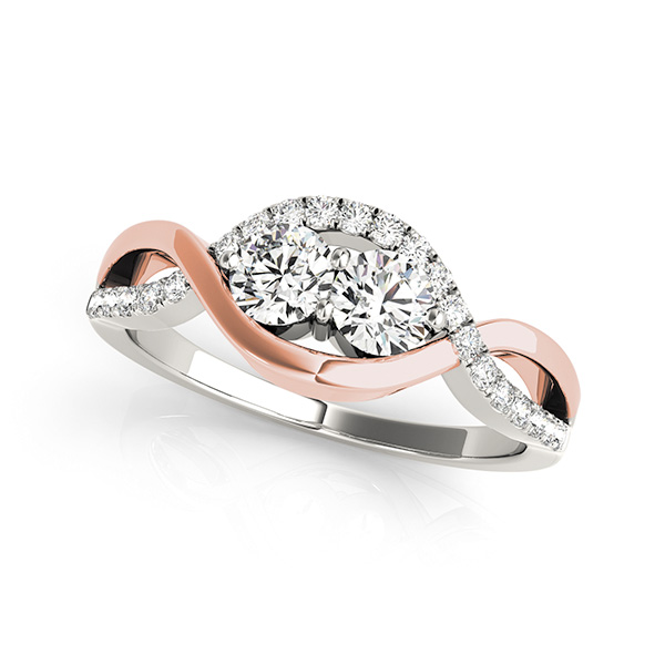 Two-Tone Duo Diamond Swirl Ring with Pave Accents 0.63 tcw.