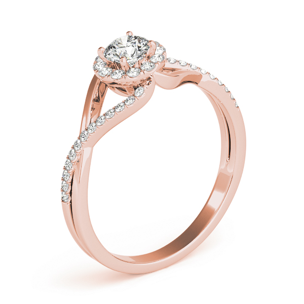 Infinity Swirl Halo Diamond Ring in Rose Gold