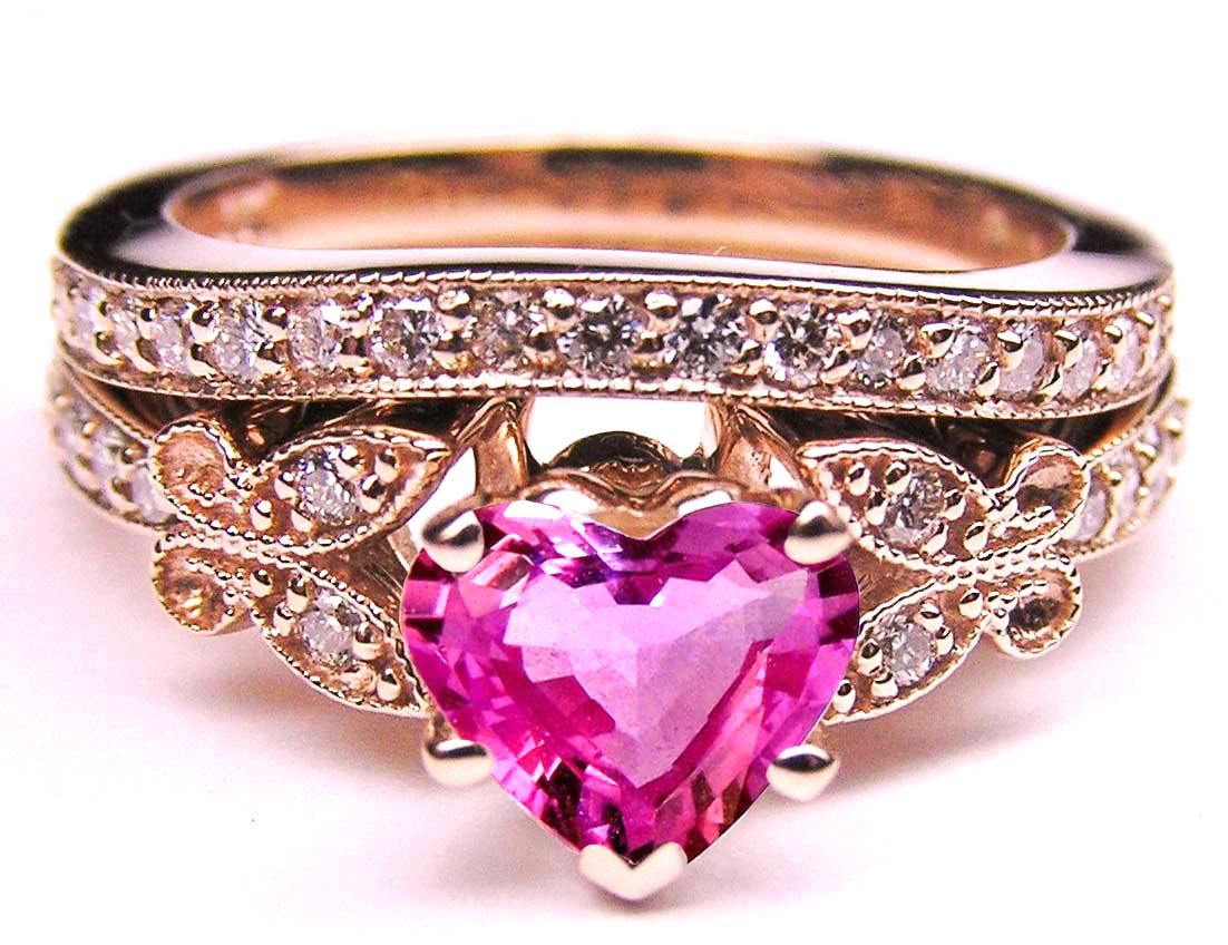 Pink Sapphire Heart Shape Diamond Butterfly Bridal Set in 14K Pink Gold