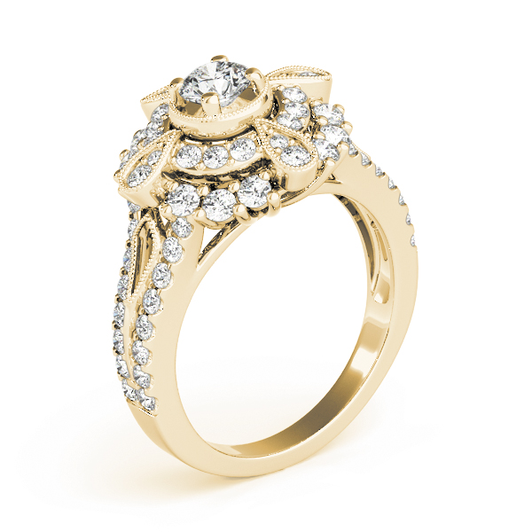 Diamond Compass Double Halo Ring in Yellow Gold
