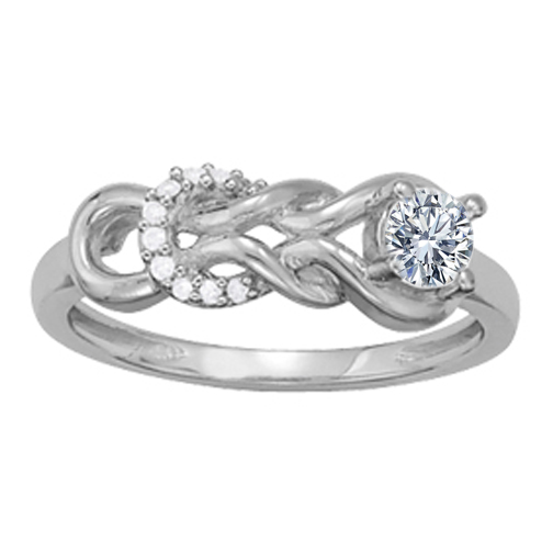 Double Love Knot with Round Diamonds