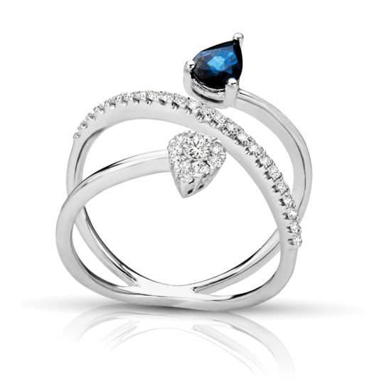 Dancing Pear Shape Sapphire & Diamond Ring
