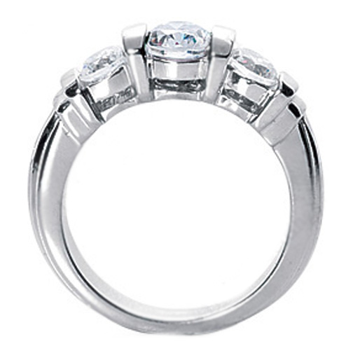 1.10 Carat Three Stone Round Diamond Bar Set Engagement Ring
