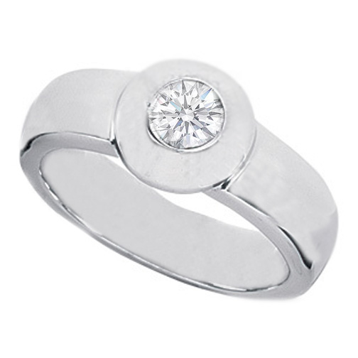 0.25 Carat Round Diamond Solitaire Bezel Engagement Ring
