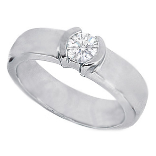 0.33 Carat Round Diamond Half Bezel Set Engagement Ring