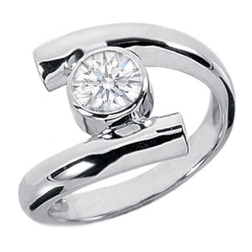 0.75 Carat Bezel Swirl Solitaire Engagement Ring