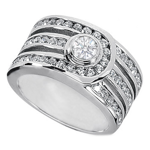 Diamond Buckle Engagement Ring 1.29 Carat TW in 14K White Gold