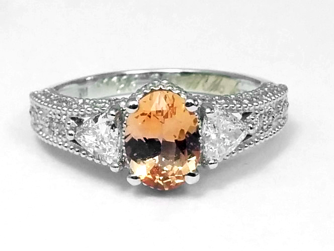 Vintage Style Morganite Oval Diamond Engagement Ring