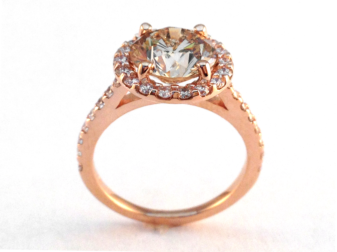 Rose Gold Champagne Round Diamond Halo Cathedral Engagement Ring with pave diamond band 2.32 tcw