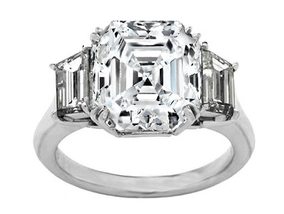 Platinum Asscher Diamond Engagement Ring Large Trapezoid Diamonds sides Like Vanessa Minnillo's