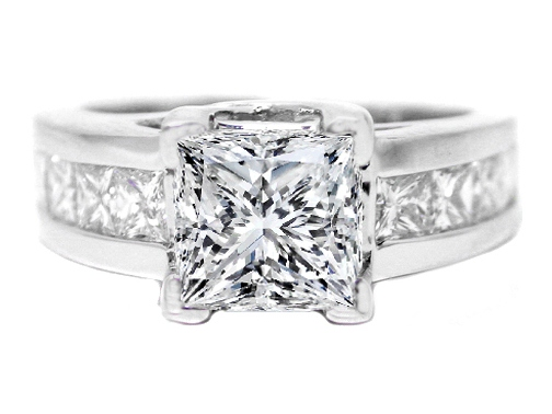 Princess Cut Diamond Trellis Engagement ring wide Princess Diamonds band 1.16 tcw.
