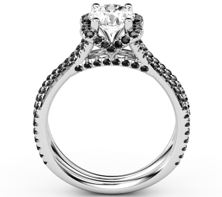 Engagement Ring Black Diamond Band