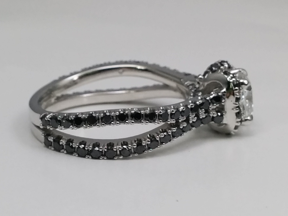Princess Cut Diamond Engagement Ring Black Diamond Band
