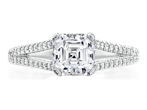 Asscher Cut Diamond Engagement Ring Trellis Curved Pave Split Band 0.48 tcw. In 14K White Gold