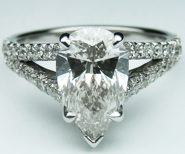 Pear Diamond Engagement Ring Trellis Curved Pave Split Band 0.48 tcw. In Platinum