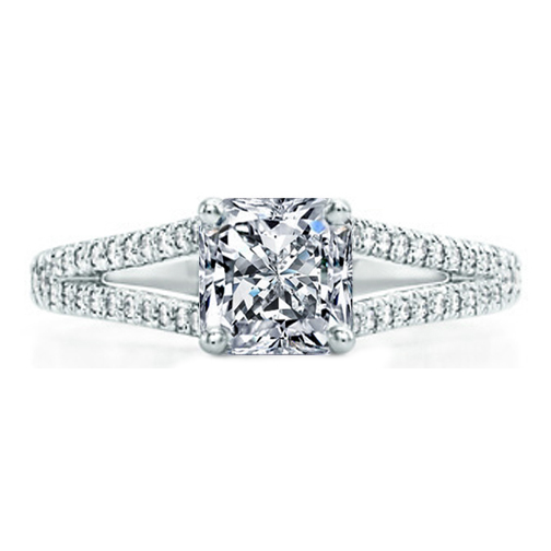 Radiant Diamond Engagement Ring Trellis Curved Pave Split Band 0.48 tcw. In Platinum