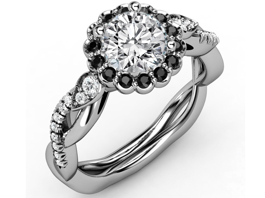 Black Diamond Halo Engagement Ring, Twisted Pave Band, in White Gold