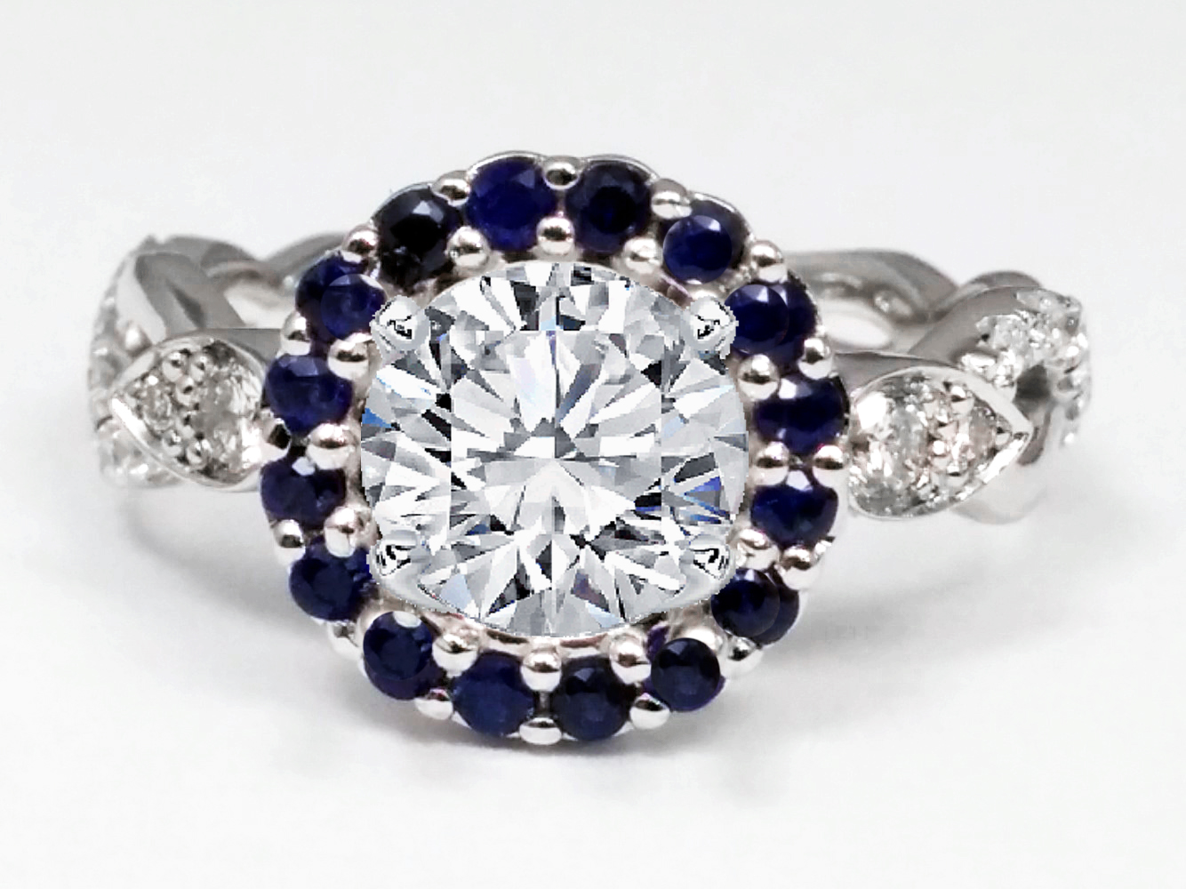 Round Blue Sapphire Halo Engagement Ring Twisted Pave Band in 14k White Gold