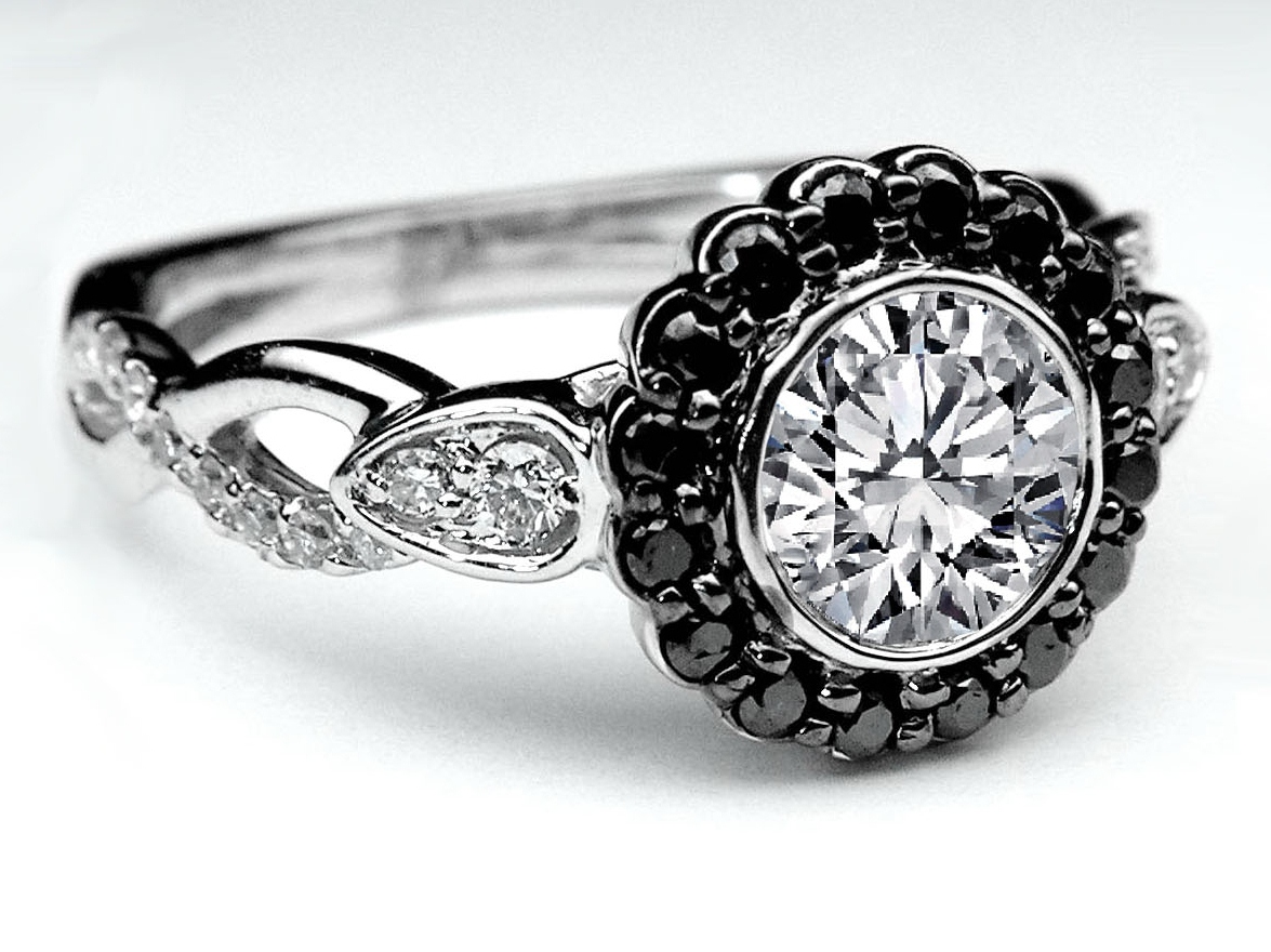 black diamond halo bezel engagement ring twisted pave band in 14k white gold - Wedding Rings With Black Diamonds