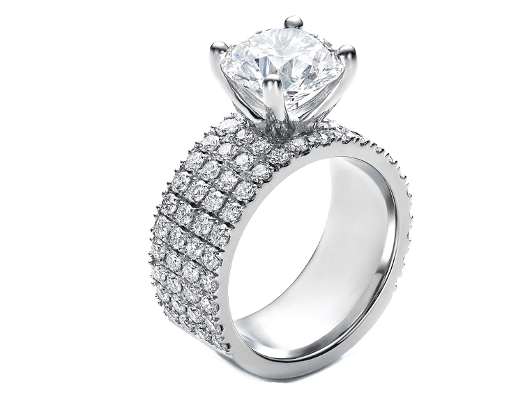 Quad Pave Band Diamond Engagement Ring Setting in 14k White Gold