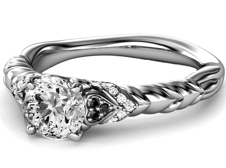 Black & White Diamond Rope Engagement Ring