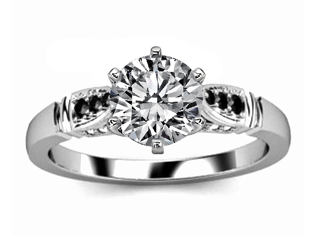 Black & White Diamond Cathedral Engagement Ring in White Gold ...