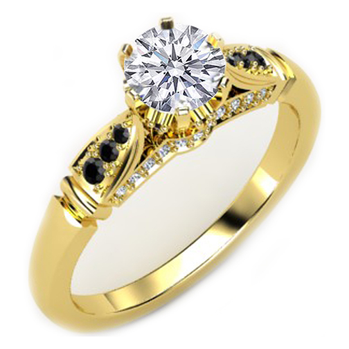 Black & White Diamond Cathedral Engagement Ring Yellow Gold