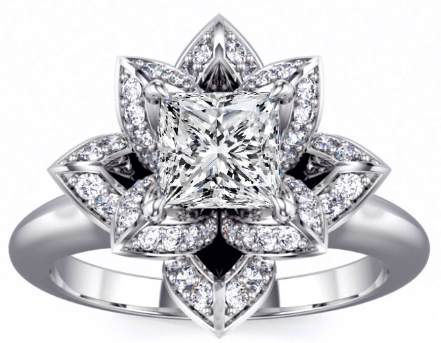 Lotus Princess Diamond Engagement Ring in 14K White Gold