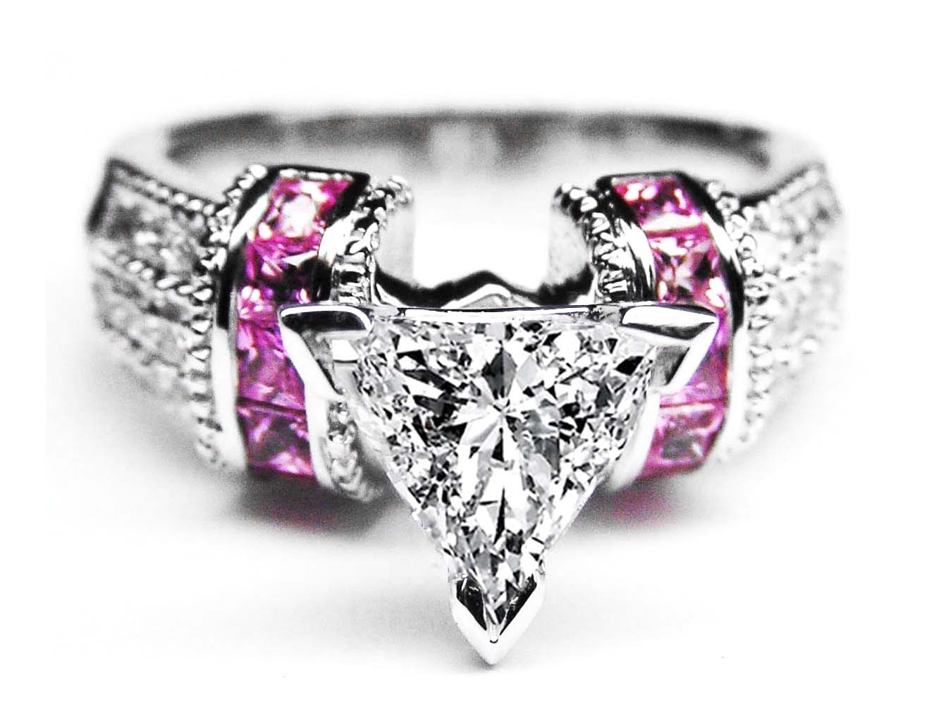 Trillion Diamond Engagement Ring Square Pink Sapphire Band in 14K White Gold