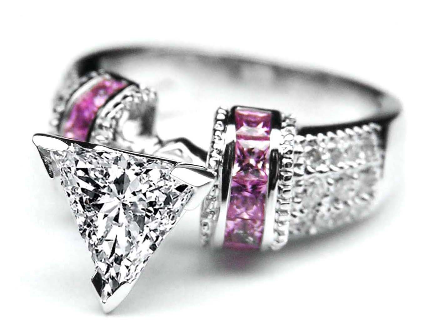 wedding rings pink trillion diamond engagement ring square pink sapphire band in 14k white gold - Pink Wedding Rings