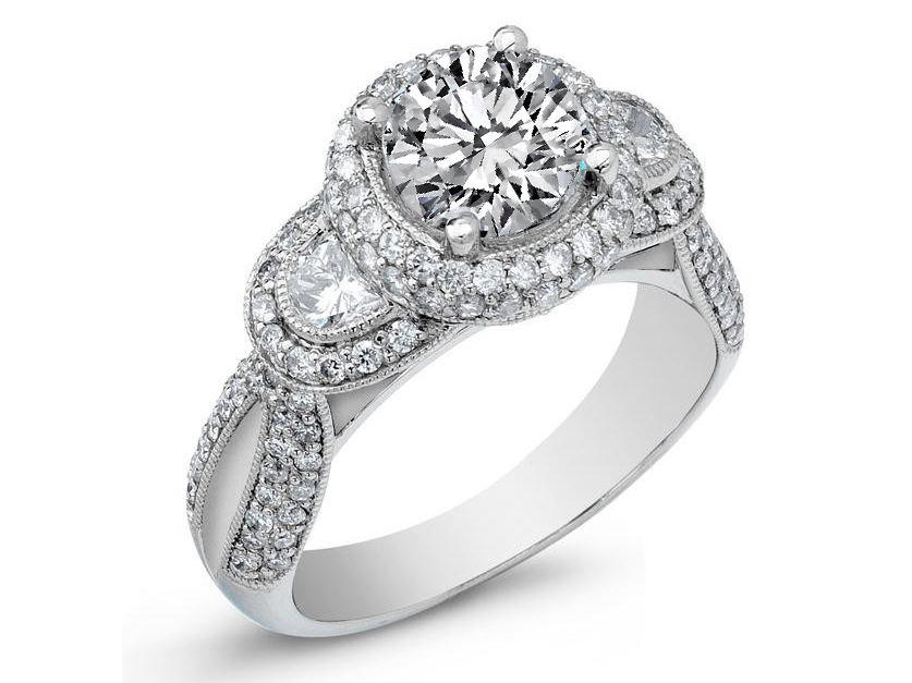 Diamond Halo Engagement Ring Half Moon Side Stones in 14K White Gold