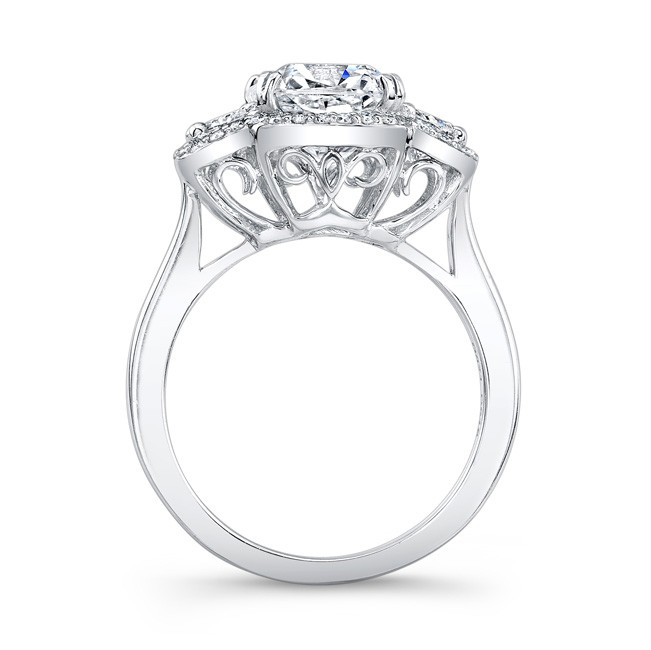 Cushion Diamond Engagement Ring Half Moon Sides filigree Gallery in 14K White Gold