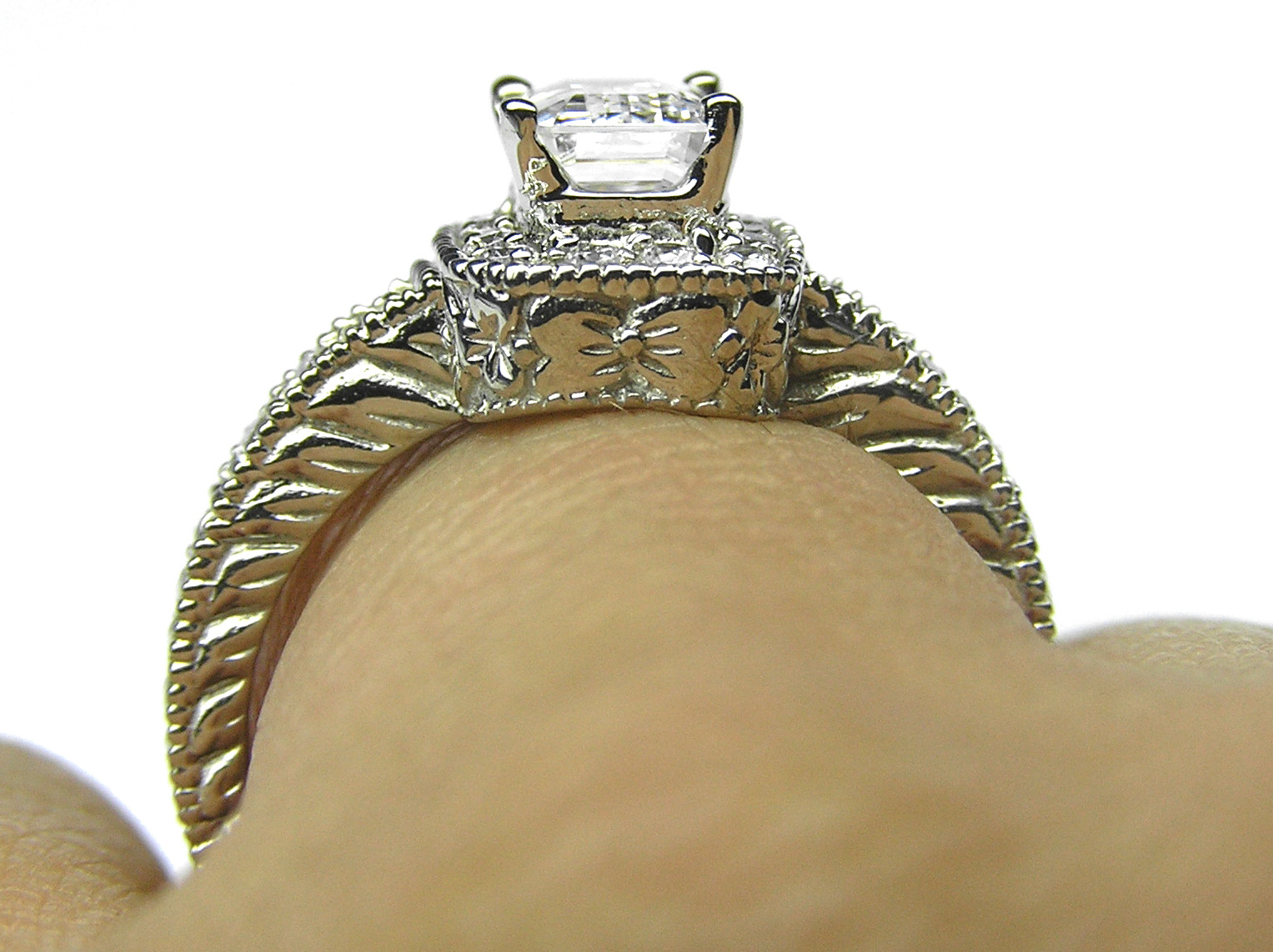 Emerald Cut Diamond Hale Engraved Engagement Ring in 14K White Gold