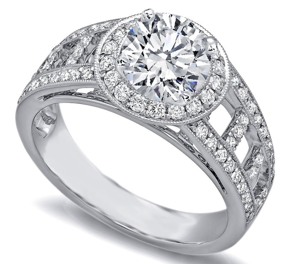 Love Ladder Diamond Engagement Ring in 14K White Gold