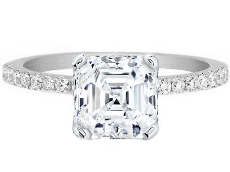 Asscher Cut Diamond Petite Engagement Ring Pave Band in 14K White Gold