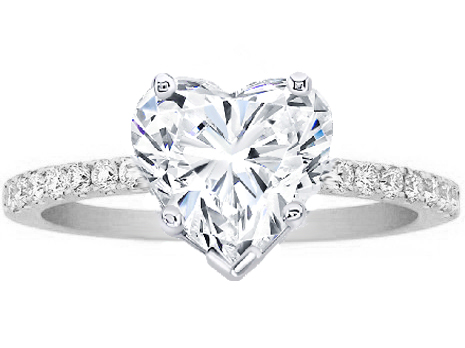 Engagement Ring Heart Shape Diamond Petite Engagement Ring Pave