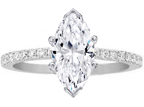 marquise shape diamond petite engagement ring pave band in 14k white gold - Marquise Wedding Rings