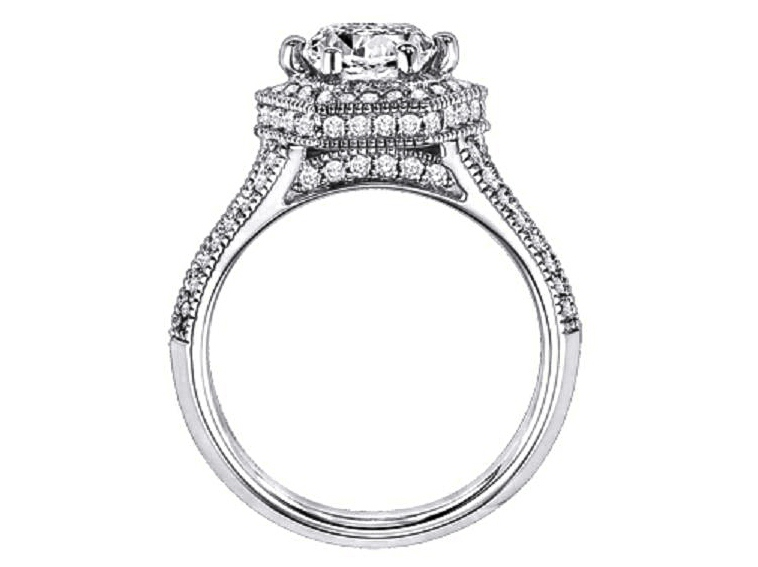 Hexagon Diamond halo engagement Ring Double Row diamond band