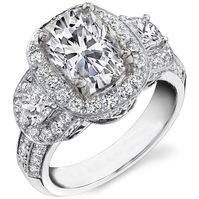 Cushion Diamond Halo Half Moon Side Stones Engagement Ring