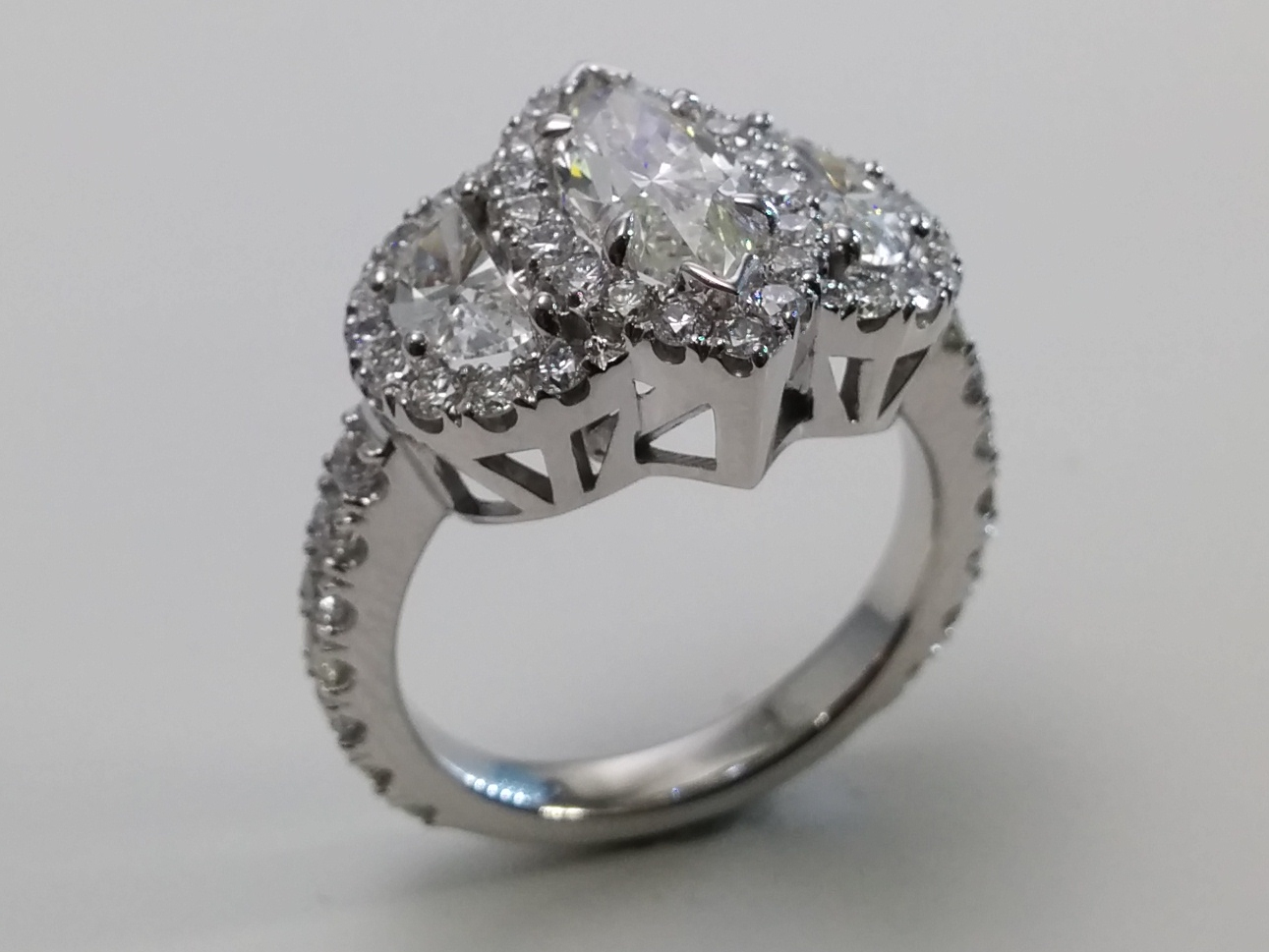 Marquise Diamond Halo Engagement Ring Half Moon Side stones