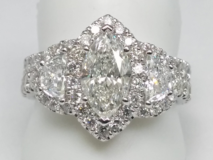 Marquise Diamond Halo Engagement Ring Half Moon Side stones & Matching Wedding Band