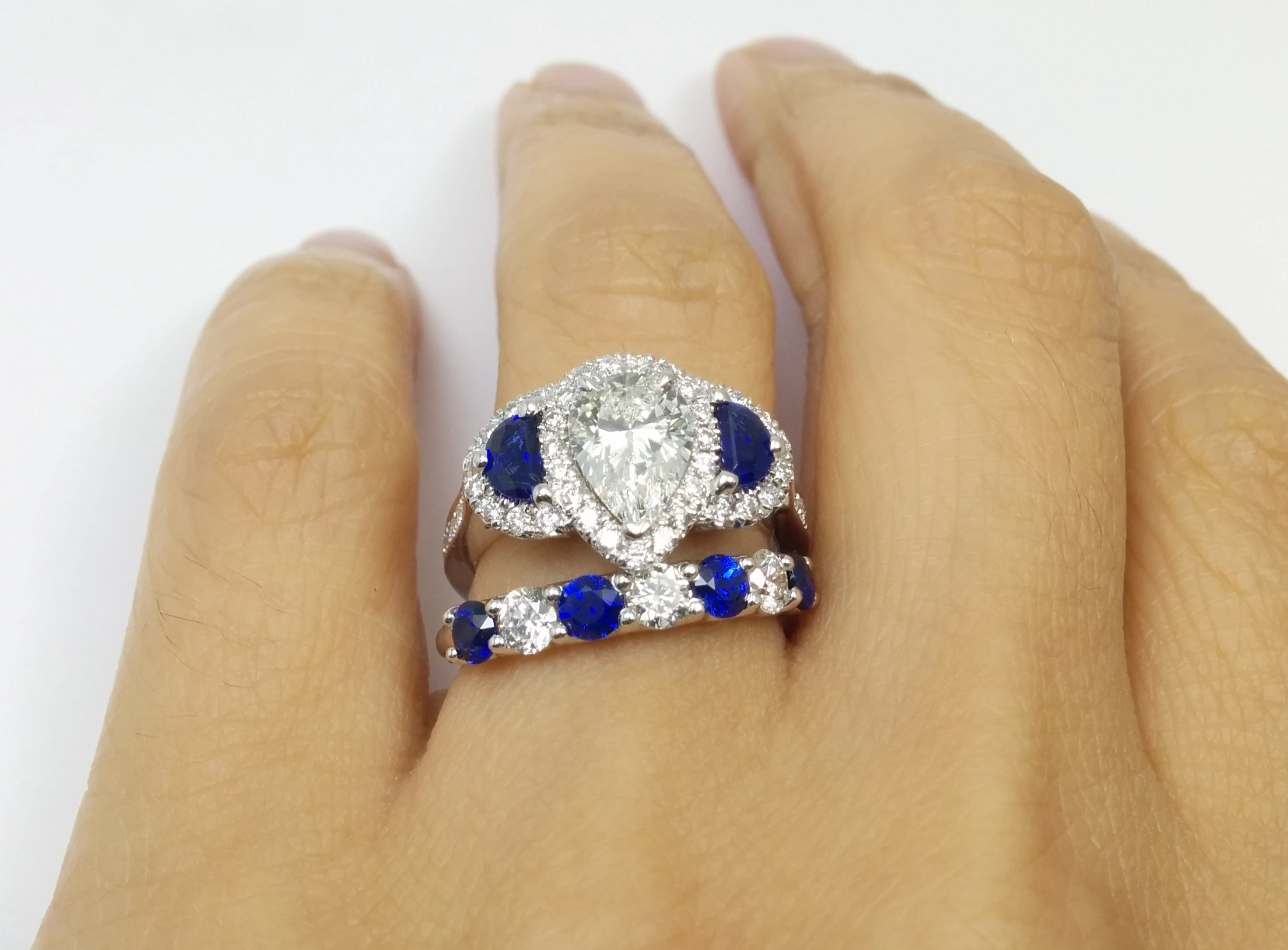 Pear Shaped Diamond Ring Half Moons Blue Sapphires & Wedding Band