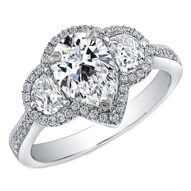 Pear Shaped Diamond Ring Half Moons Sides, Pave Halo