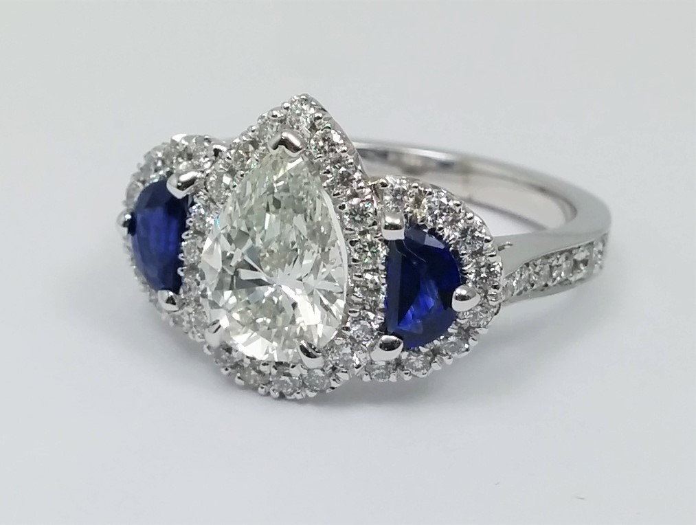 Pear Shaped Diamond Ring Half Moons Side, Blue Sapphires & Pave Halo