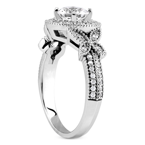 Vintage Style Diamond Halo Butterfly Engagement Ring and Wrap Wedding Band