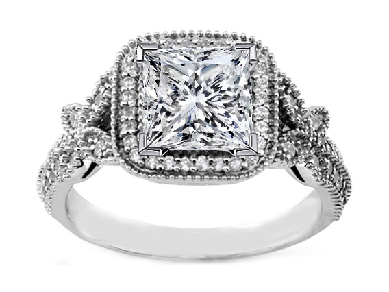 Vintage Style Princess Diamond Halo Butterfly Engagement Ring