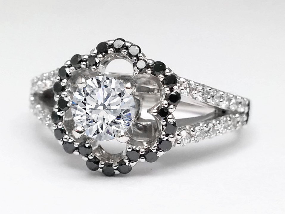Black Diamond Floral Split Band Diamond Engagement Ring