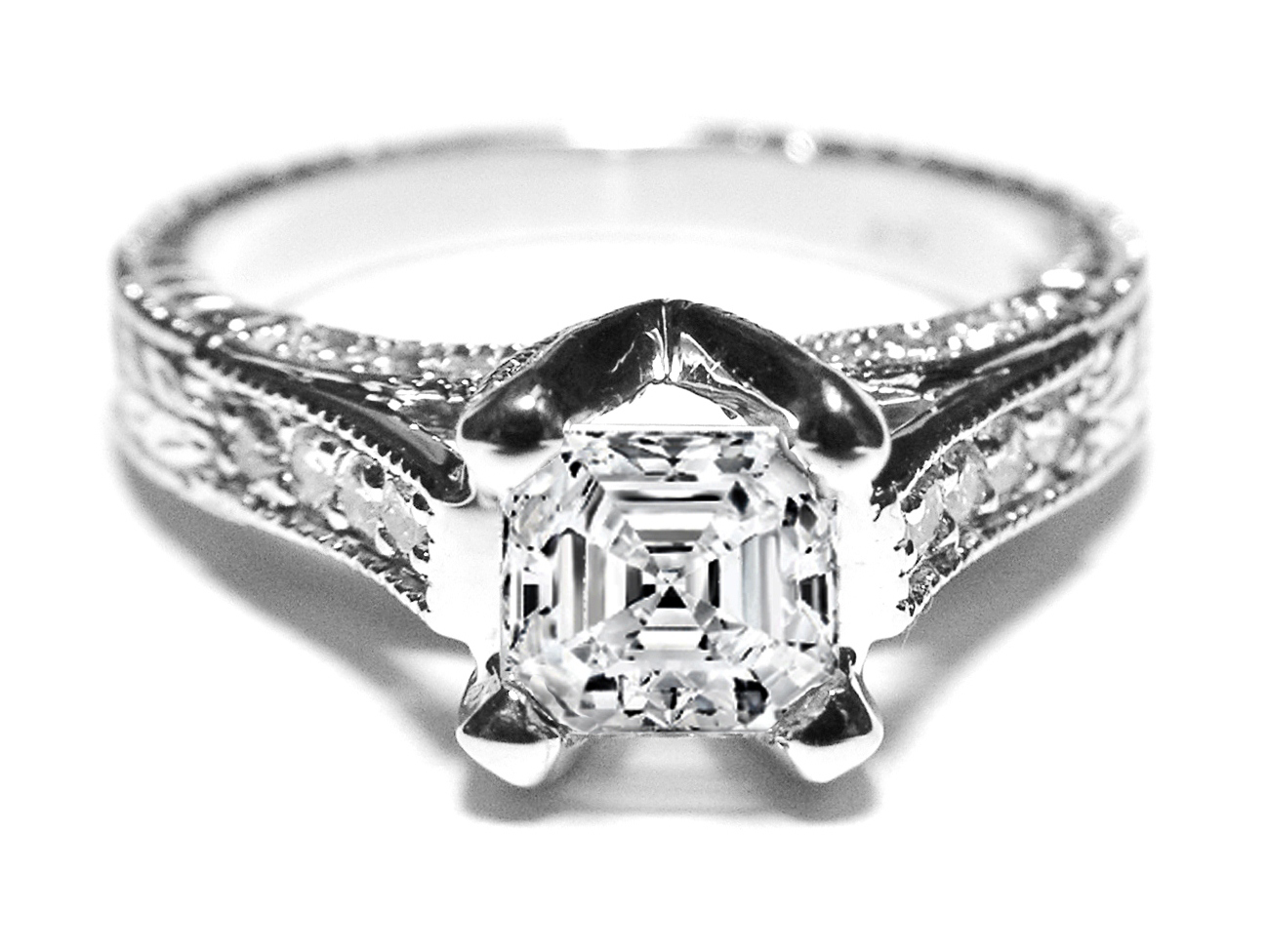 Asscher Diamond Vintage Pave Cathedral Engagement Ring 0.4 tcw. In 14K White Gold