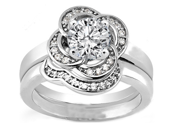 Engagement Ring Floral Halo Diamond Engagement Ring And Matching